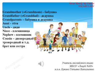 Иностранный язык About Myself, My Family VOCABULARY Grandmother (=Grandmom) -