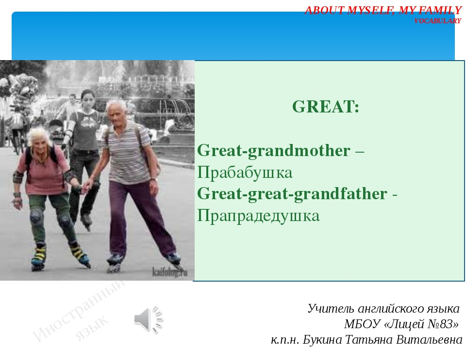 Иностранный язык GREAT: Great-grandmother – Прабабушка Great-great-grandfathe...