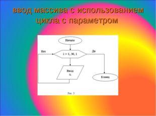ввод массива с использованием цикла с параметром
