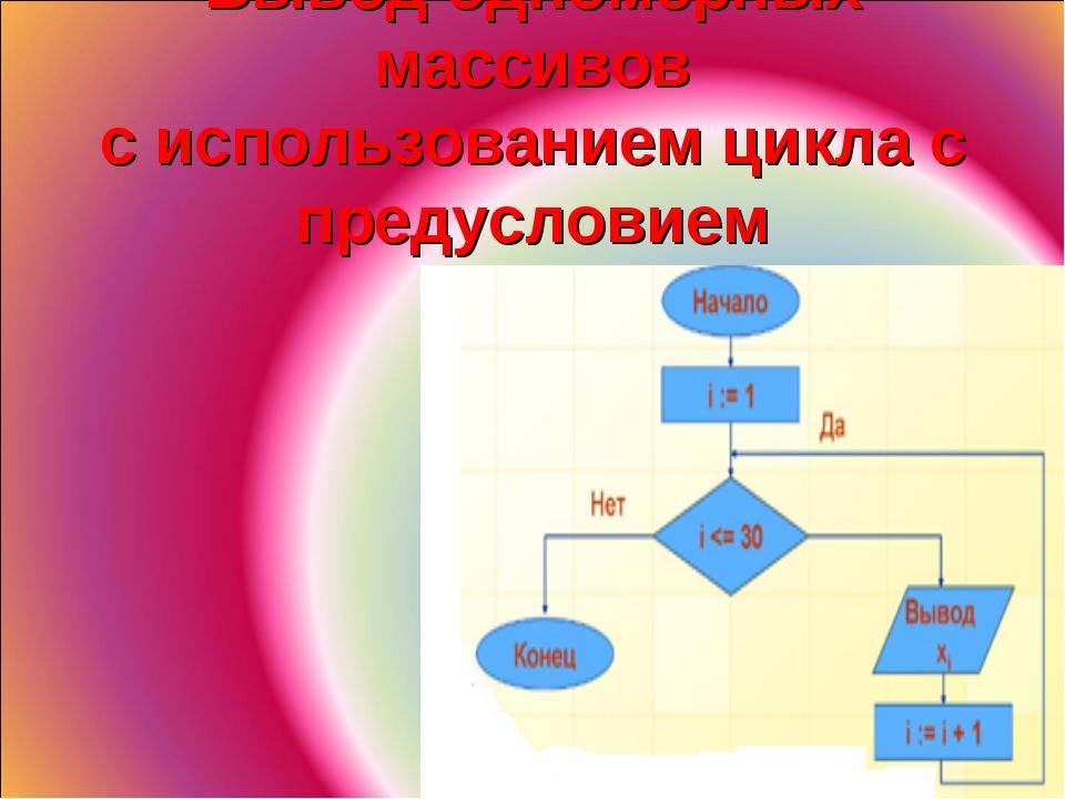 Вывод одномерных массивов с использованием цикла с предусловием