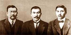 Лидеры партии «Алаш» Ахмет Байтурсынов (слева), Алихан Букейханов и Миржакып Дулатов