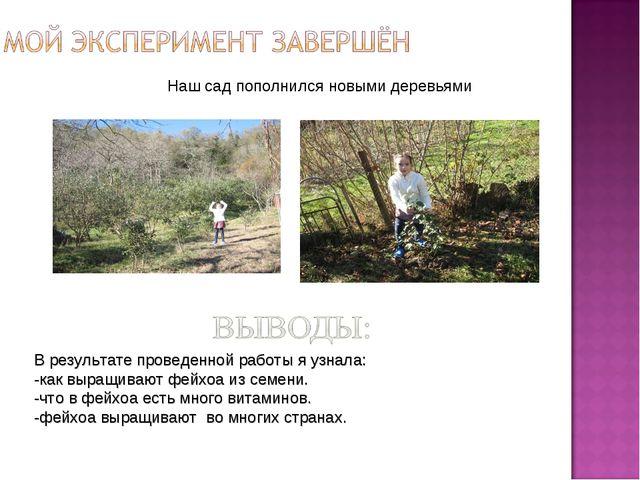 В результате проведенной работы я узнала: -как выращивают фейхоа из семени. -...