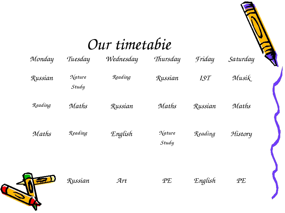 Our timetabie