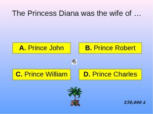 The Princess Diana was the wife of … А. Prince John B. Prince Robert C. Princ