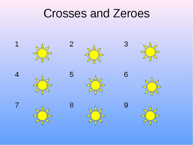 Crosses and Zeroes 1	2	3 4	5	6 7	8	9
