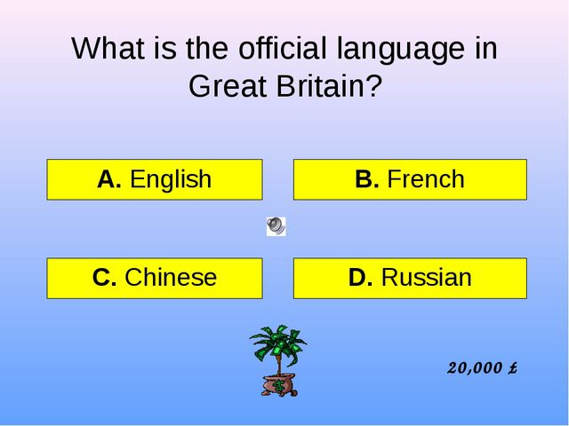 What is the official language in Great Britain? А. English B. French C. Chine...