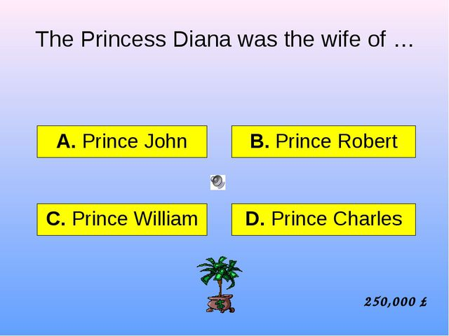 The Princess Diana was the wife of … А. Prince John B. Prince Robert C. Princ...