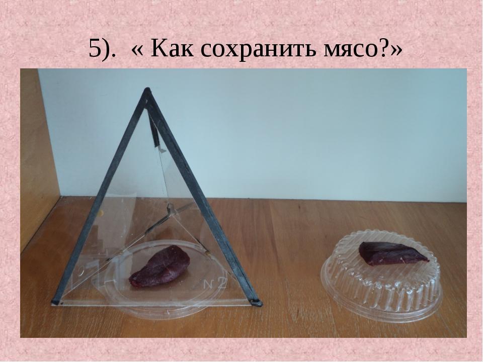 5). « Как сохранить мясо?»