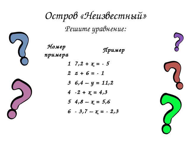 Остров «Неизвестный» Решите уравнение: Номер примераПример 17,2 + x = - 5 2...