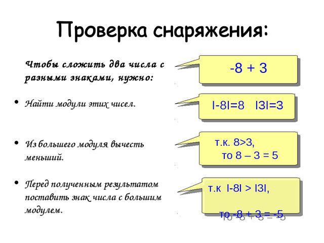 Чтобы сложить два числа с разными знаками, нужно: Найти модули этих чисел. И...