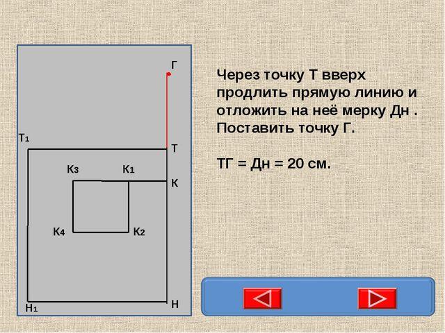 Через точку Т вверх продлить прямую линию и отложить на неё мерку Дн . Постав...