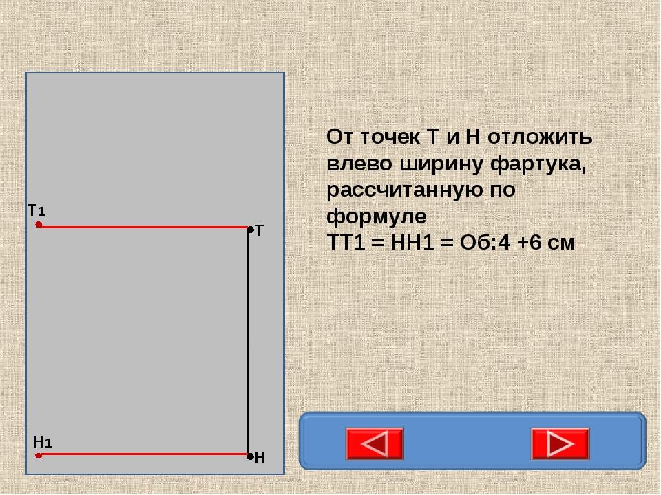Н Т Т1 Н1 От точек Т и Н отложить влево ширину фартука, рассчитанную по форму...