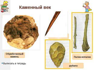 Каменный век Выписать в тетрадь Обработанный камень Палка-копалка Костяная иг