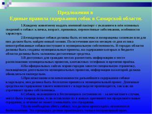 Предложения в Единые правила содержания собак в Самарской области. 1.Каждому
