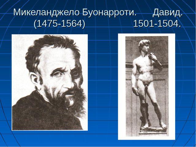 Микеланджело Буонарроти. Давид. (1475-1564) 1501-1504.