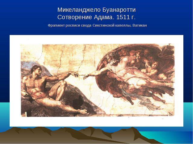 Микеланджело Буанаротти Сотворение Адама. 1511 г. Фрагмент росписи свода Сикс...