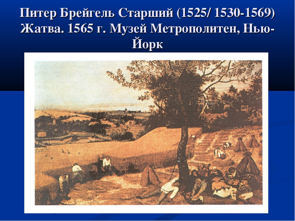 Питер Брейгель Старший (1525/ 1530-1569) Жатва. 1565 г. Музей Метрополитен, Н...