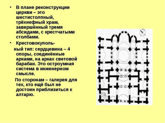 В плане реконструкции церкви – это шестистолпный, трёхнефный храм, завершённы...