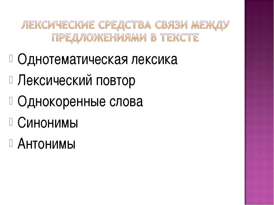 Однотематическая лексика Лексический повтор Однокоренные слова Синонимы Антон...