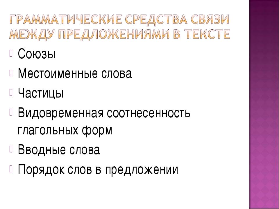 Союзы Местоименные слова Частицы Видовременная соотнесенность глагольных форм...