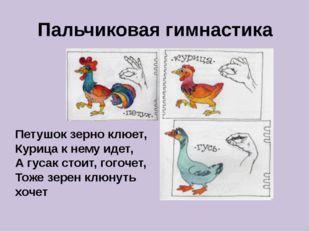 Пальчиковая гимнастика Петушок зерно клюет, Курица к нему идет, А гусак стои