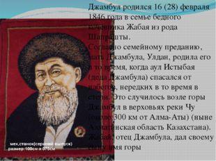 Джамбул родился 16 (28) февраля 1846 года в семье бедного кочевника Жабая из