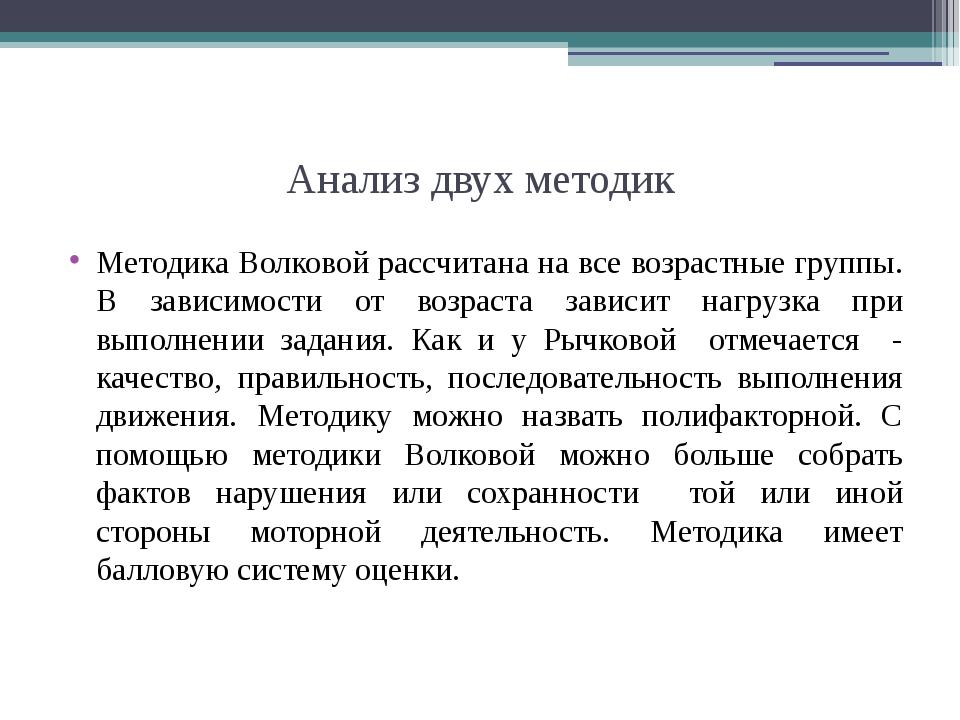 Анализ двух методик Методика Волковой рассчитана на все возрастные группы. В...