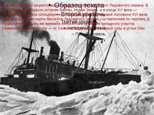 В XI веке русские мореплаватели вышли в моря Северного Ледовитого океана. В