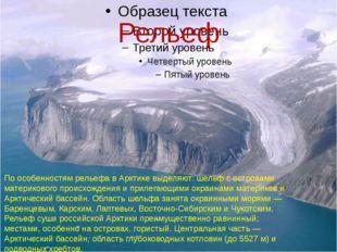 Рельеф По особенностям рельефа в Арктике выделяют: шельф с островами материко