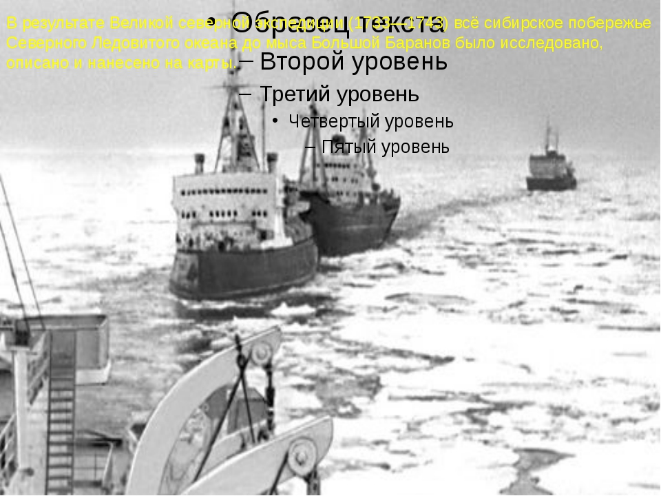 В результате Великой северной экспедиции (1733—1743) всё сибирское побережье...