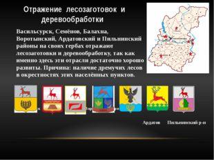 Отражение лесозаготовок и деревообработки Васильсурск, Семёнов, Балахна, Воро