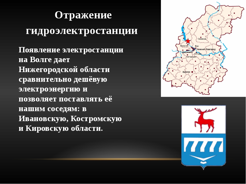 Отражение гидроэлектростанции Появление электростанции на Волге дает Нижегоро...