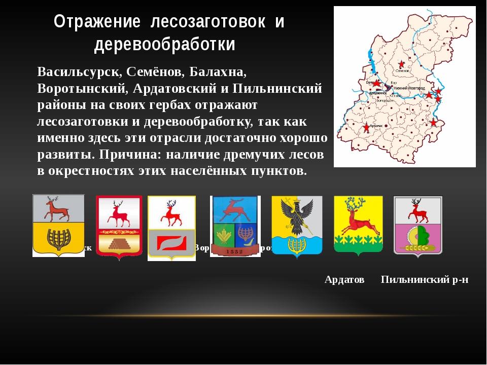Отражение лесозаготовок и деревообработки Васильсурск, Семёнов, Балахна, Воро...