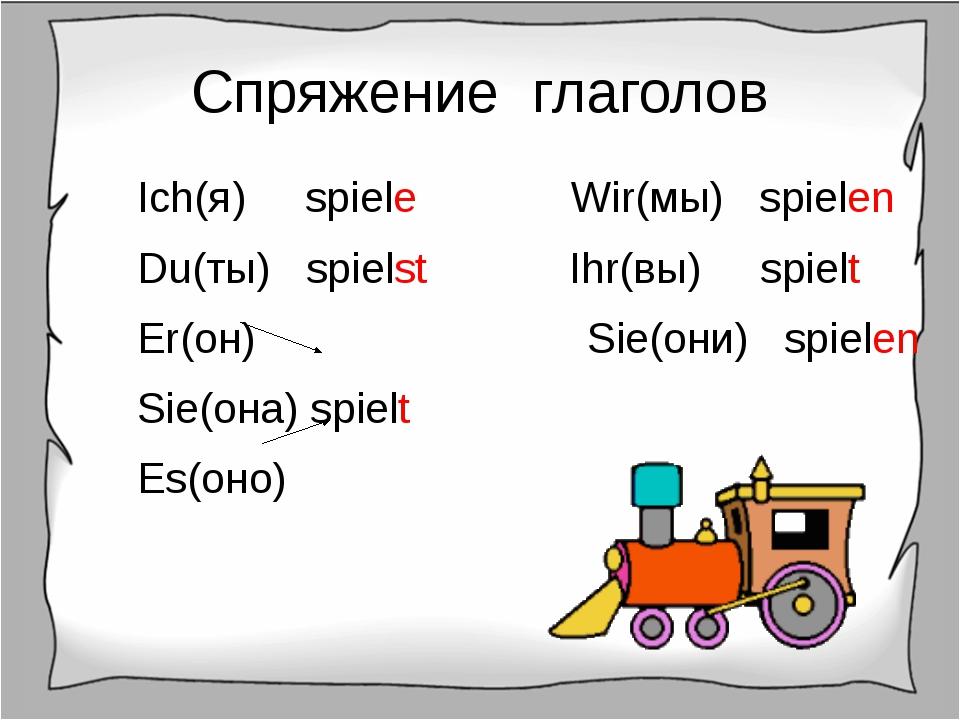 Спряжение глаголов Ich(я) spiele Wir(мы) spielen Du(ты) spielst Ihr(вы) spiel...