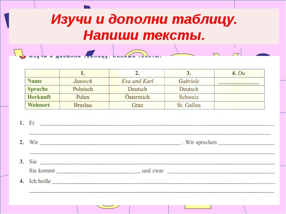 Изучи и дополни таблицу. Напиши тексты.