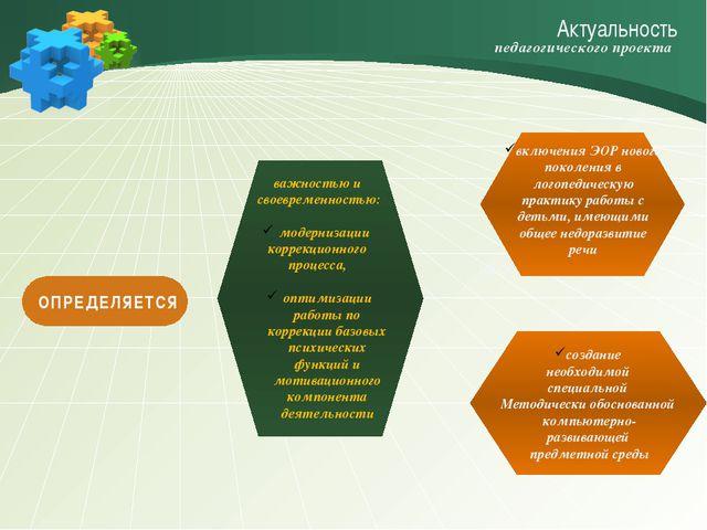 Актуальность важностью и своевременностью: модернизации коррекционного процес...