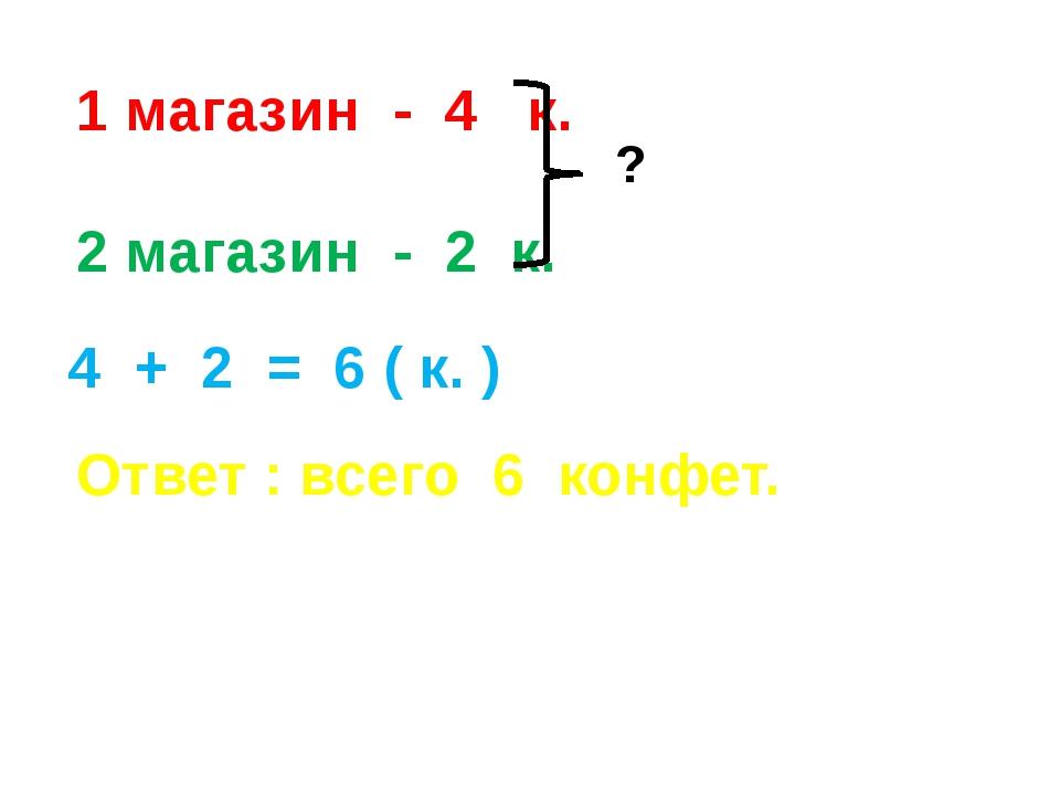 1 магазин - 4 к. 2 магазин - 2 к. ? 4 + 2 = 6 ( к. ) Ответ : всего 6 конфет.