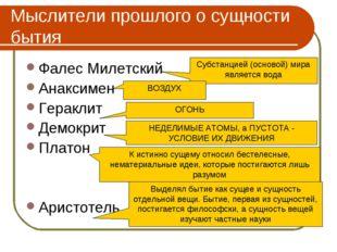 Мыслители прошлого о сущности бытия Фалес Милетский Анаксимен Гераклит Демокр
