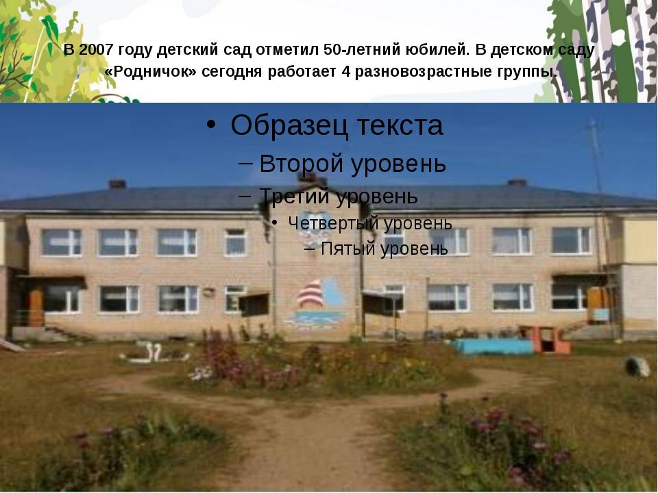 В 2007 году детский сад отметил 50-летний юбилей. В детском саду «Родничо...