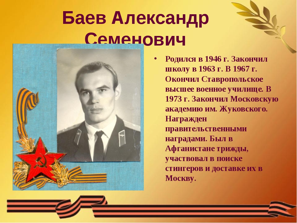 Баев Александр Семенович Родился в 1946 г. Закончил школу в 1963 г. В 1967 г....