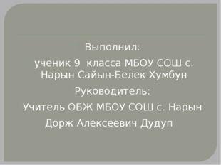 Выполнил: ученик 9 класса МБОУ СОШ с. Нарын Сайын-Белек Хумбун Руководитель: