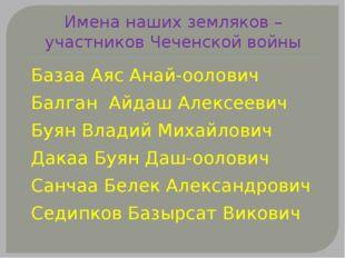 Имена наших земляков – участников Чеченской войны Базаа Аяс Анай-оолович Балг