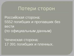 Потери сторон Российская сторона: 5552 погибших и пропавших без вести (по офи