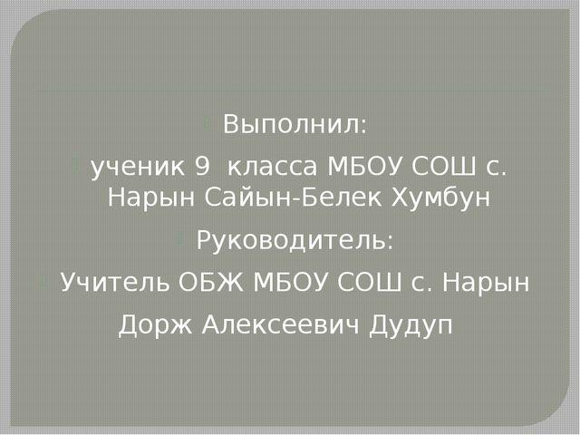 Выполнил: ученик 9 класса МБОУ СОШ с. Нарын Сайын-Белек Хумбун Руководитель:...