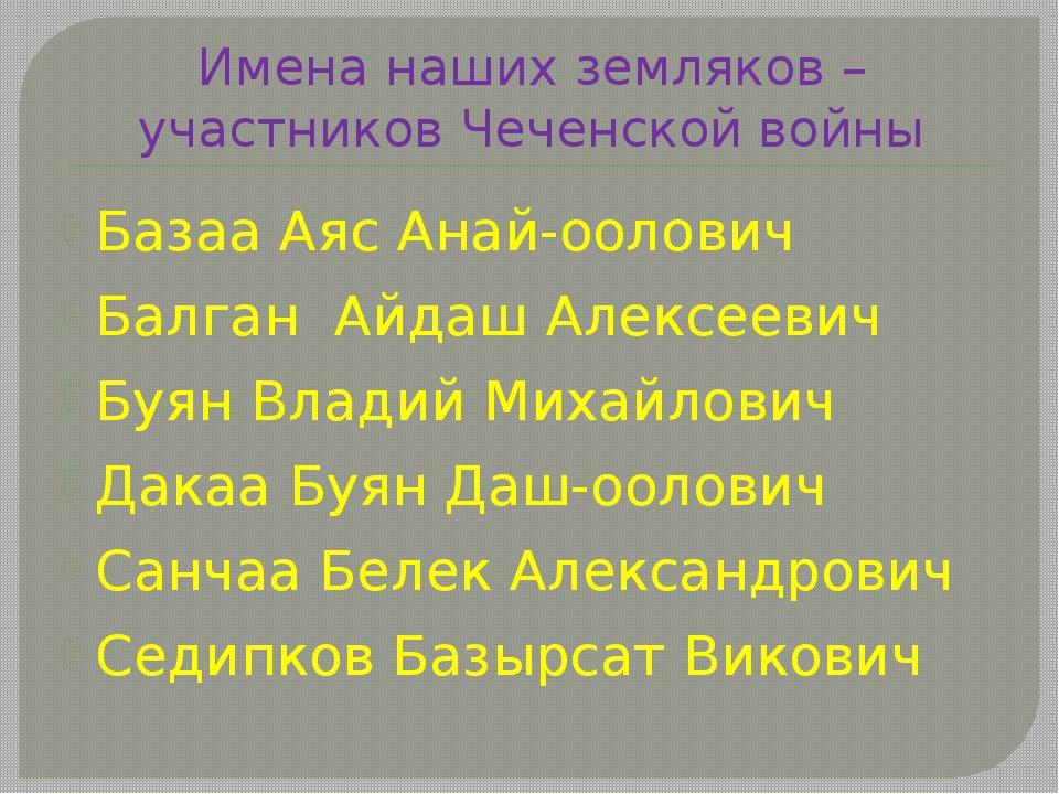Имена наших земляков – участников Чеченской войны Базаа Аяс Анай-оолович Балг...