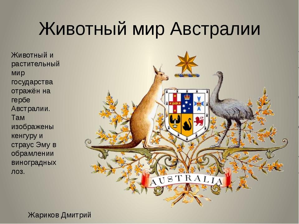 Животный мир Австралии Животный и растительный мир государства отражён на гер...
