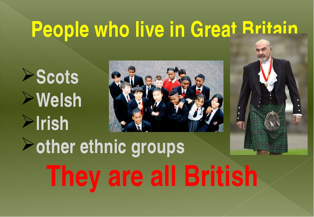 People who live in Great Britain Scots Welsh Irish other ethnic groups They a...