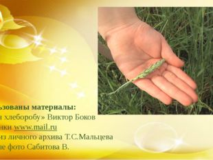 Использованы материалы: - «Гимн хлеборобу» Виктор Боков - картинки www.mail.r