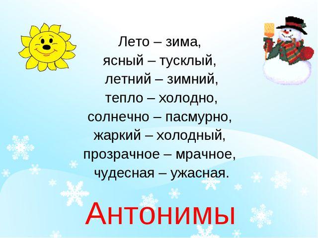 Лето – зима, ясный – тусклый, летний – зимний, тепло – холодно, солнечно – па...
