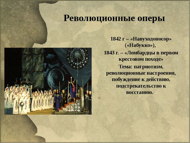 Революционные оперы 1842 г – «Навуходоносор» («Набукко»), 1843 г. – «Ломбардц...